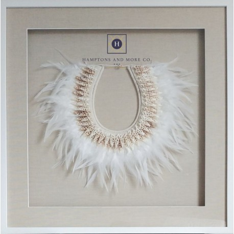 Tribal feather and shell necklace Linen